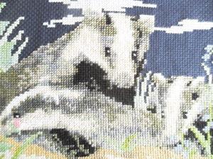 Барсуки. Аукцион с нуля на картину с ручной вышивкой крестом. Ярмарка Мастеров - ручная работа, handmade.