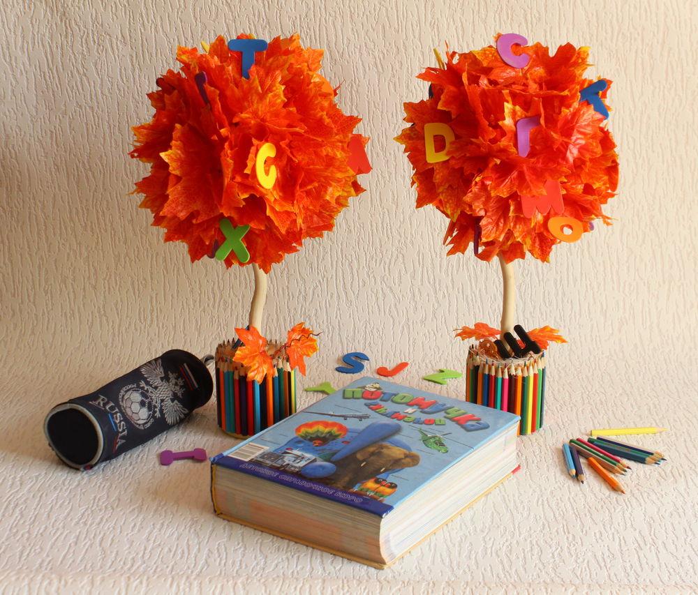 топиарий, школьное дерево, фото для примера, цветные карандаши
