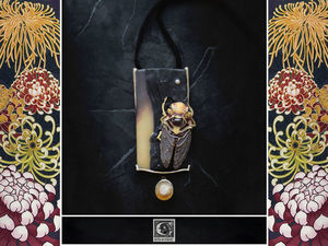 Колье  «Higurashi» . Сумеречная певчая цикада. Ярмарка Мастеров - ручная работа, handmade.
