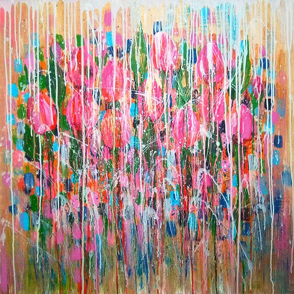 8 марта подарок, тюльпаны картина, цветы под дождем