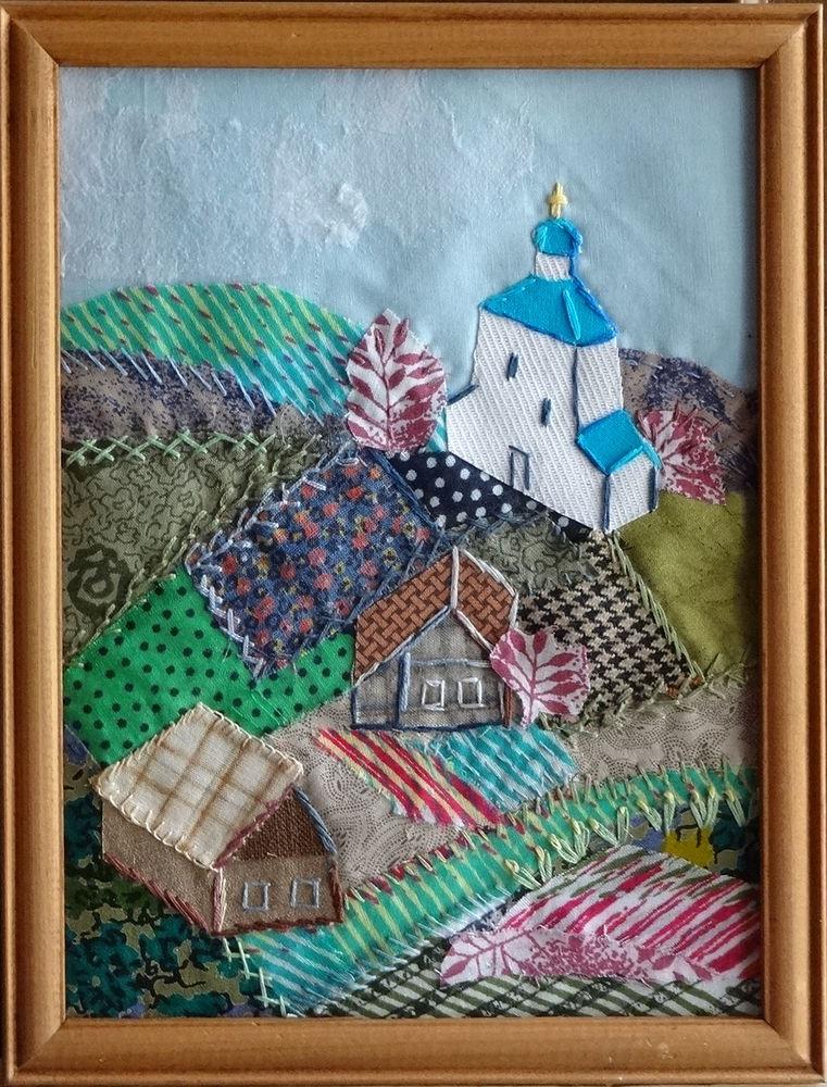 мастер-класс, пэсворк, лоскутное шитье, текстильный пейзаж, вышивка ручная