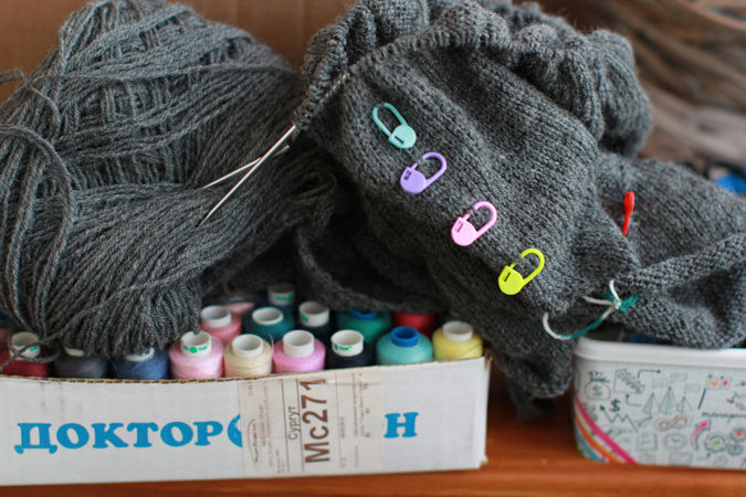 коробка, описание, свитер по кругу