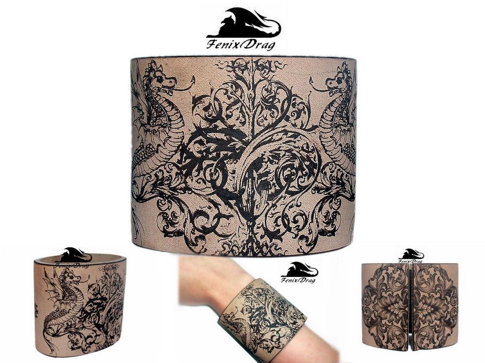 браслет, кожа, браслет из кожи, широкий браслет, кельтика, драконы, волшество