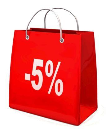 скидки, скидка 5%, акция магазина