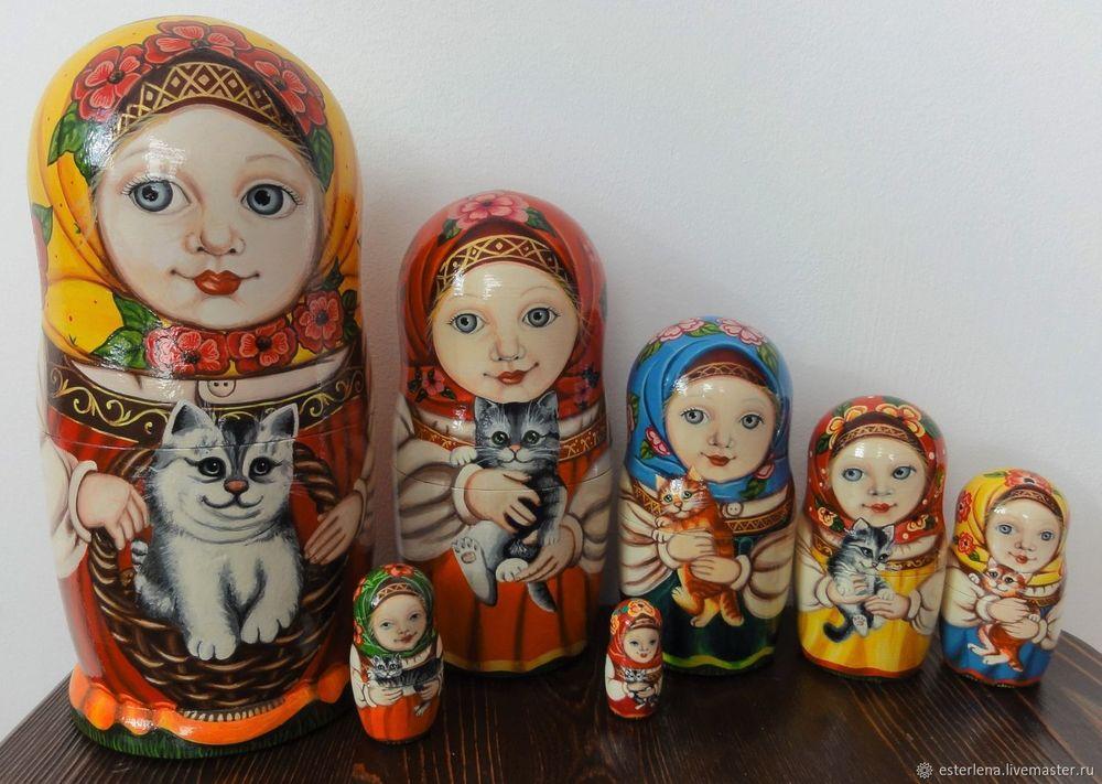 матрешка, кошки, матрешка с котятами, эстерлена, матрешки, матрешка ребенку, подарок детям