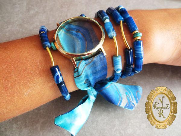 Новая коллекция браслетов с часами - обманками и батиком по шёлку!   Ярмарка Мастеров - ручная работа, handmade