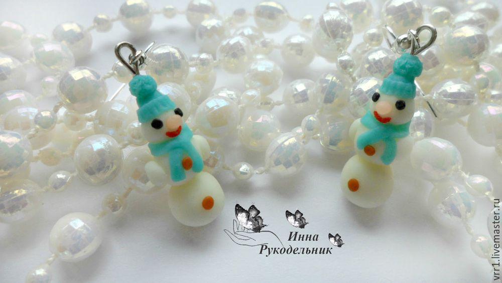 полимерная глина, снеговики, украшения ручной работы, diy, рождество