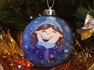 Роспись новогоднего шара «Радость». Ярмарка Мастеров - ручная работа, handmade.