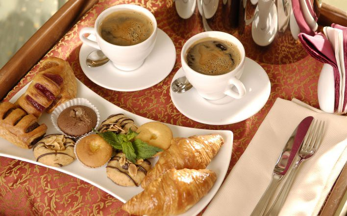 Delicious Continental Breakfast Consisting Of Coffee, Orange...
