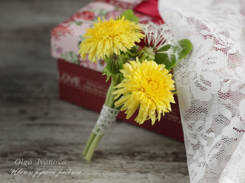 одуванчик, брошь с цветами
