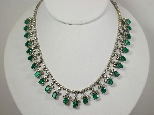 Незабываемое!!! Ожерелье 29.15 карат редких колумбийских  изумрудов с белыми бриллиантами 18k | Ярмарка Мастеров - ручная работа, handmade