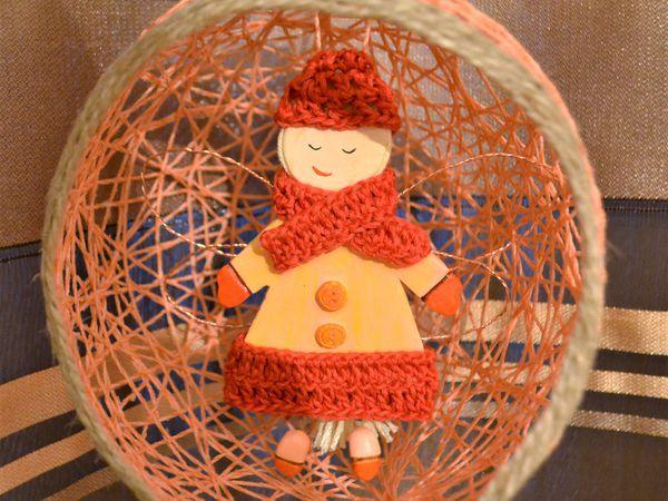 Новогодняя феечка из полимерной глины в шаре из ниток | Ярмарка Мастеров - ручная работа, handmade