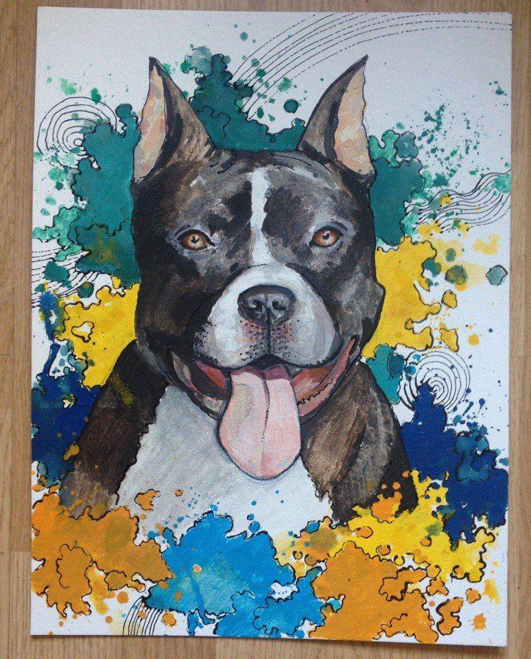 собачка, масляная живопись