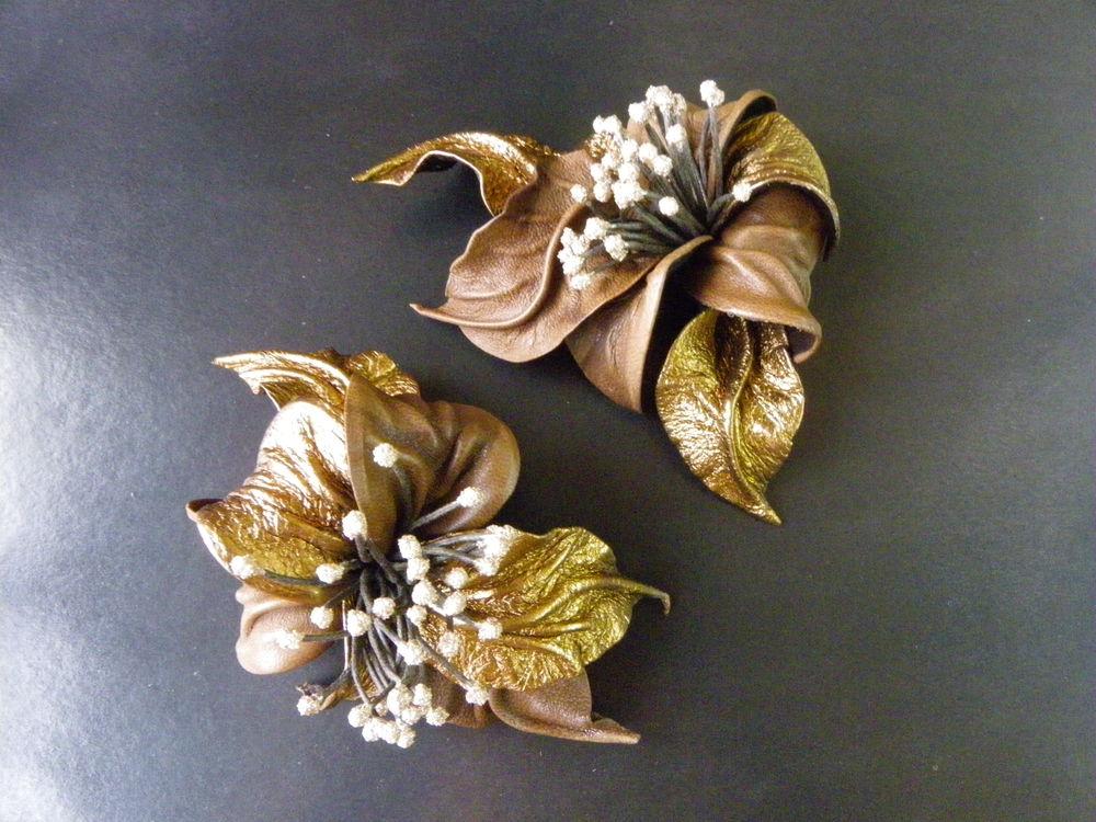 новинка, бронза, заколка, заколка и брошь, цветы листья