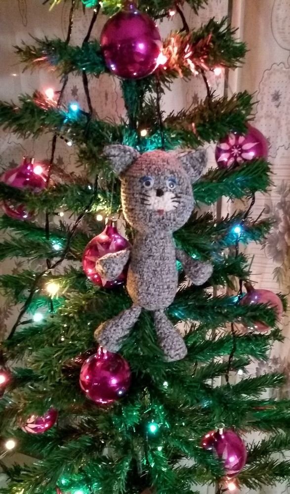 котик, кот вязаный, новый год, елка