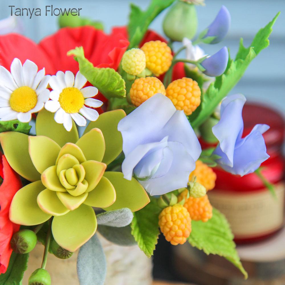 букет с маками, искусственные цветы