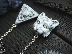 Аукцион с нуля. Cat. Серьги из полимерной глины.. Ярмарка Мастеров - ручная работа, handmade.