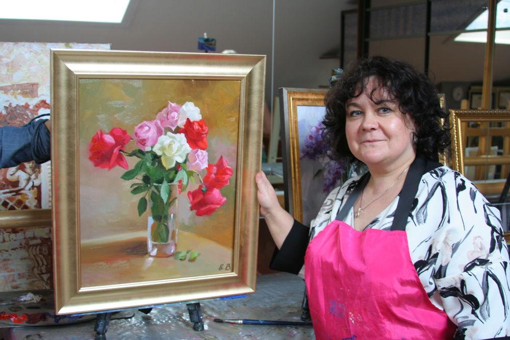 картина маслом, цветы ручной работы