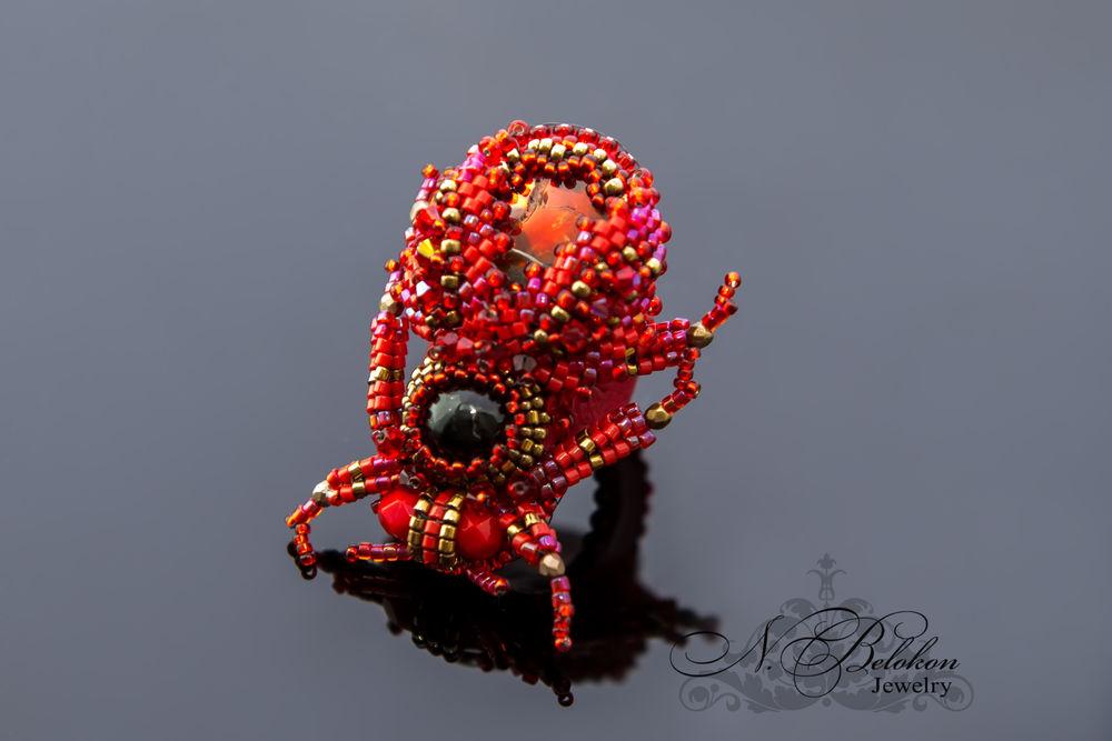 Огненный аммолитовый жучок колечко, фото № 9