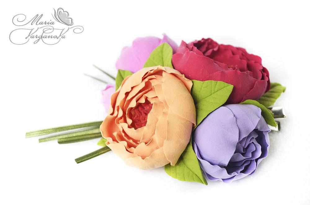 лепка из полимерной глины, цветы ручной работы