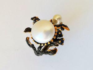 Видео кольца с белым жемчугом и сапфирами. Серебро 925 пробы. Ярмарка Мастеров - ручная работа, handmade.
