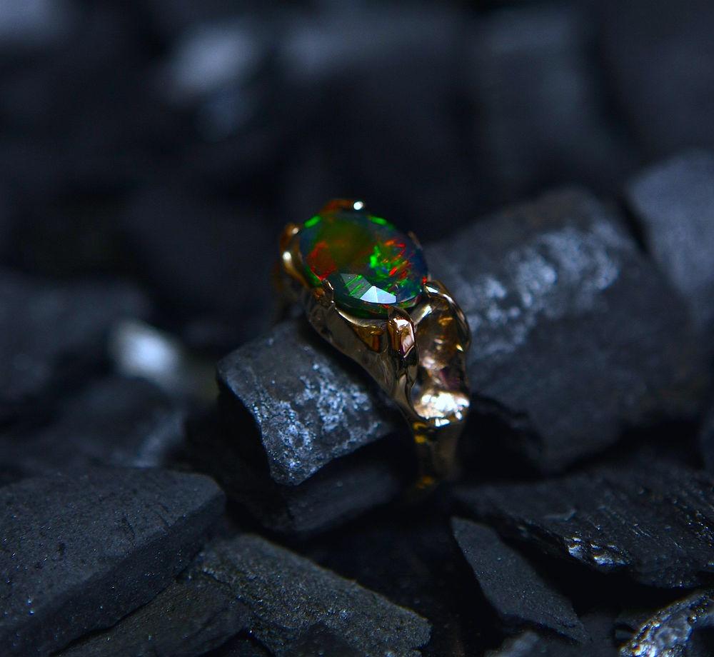 природный опал, эфиопский опал, кольцо с опалом, серьги с опалом, огонь