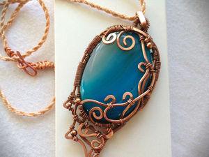 Процесс создания медальона «Морская пена» в технике wire wrap. Ярмарка Мастеров - ручная работа, handmade.