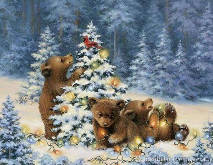Открытка новогодняя с животными, открытку виртуальную
