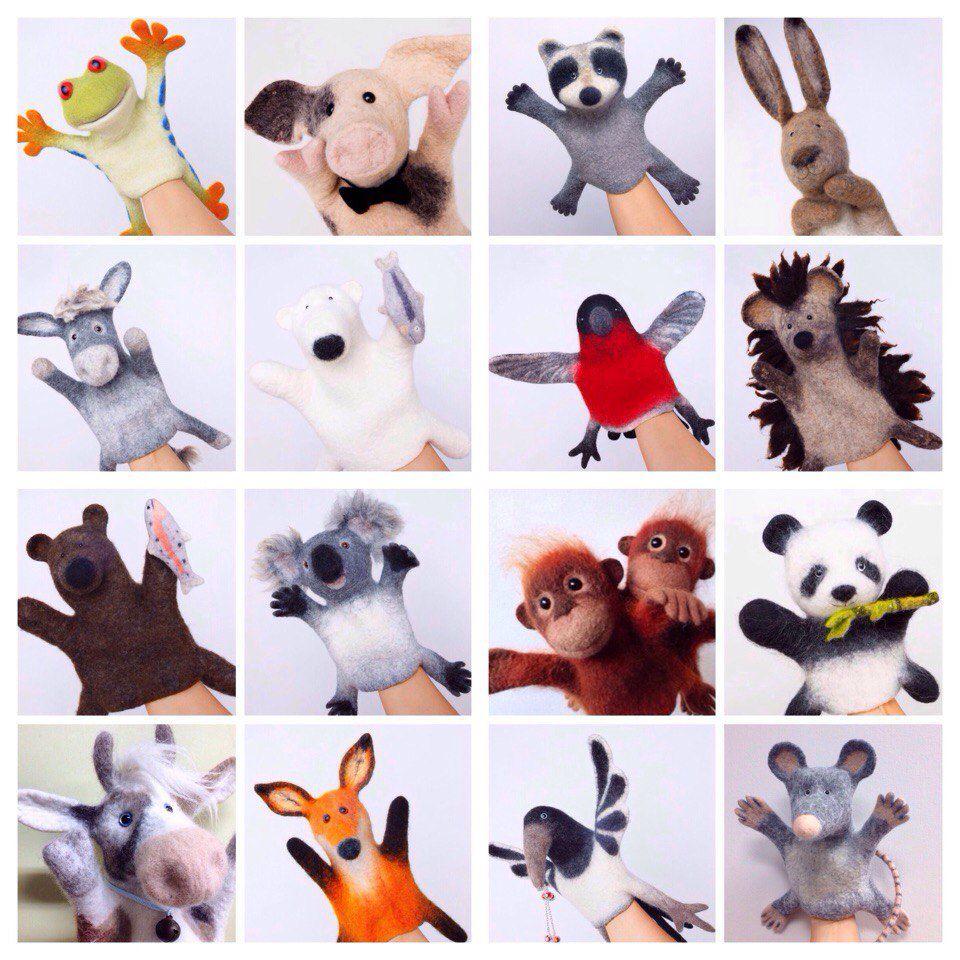 игрушка на руку, мокрое валяние, войлочные игрушки, развивающие игрушки