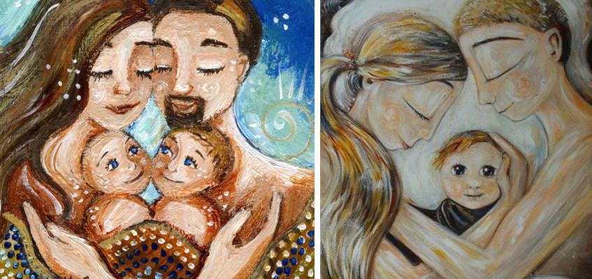 Любящие объятия и теплые моменты материнства в иллюстрациях Katie m. Berggren