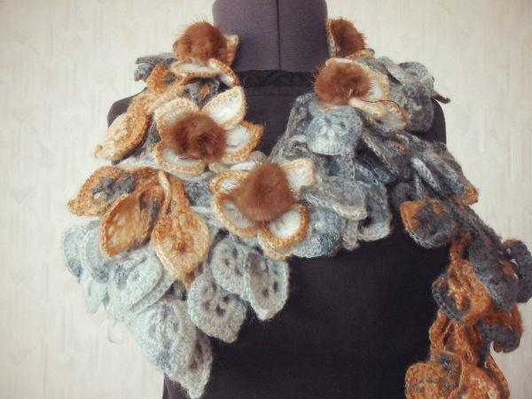 РАСПРОДАЖА!!!! Оригинальные шарфики с мехом норки и экзотическими цветами!!! от799 руб!!! | Ярмарка Мастеров - ручная работа, handmade