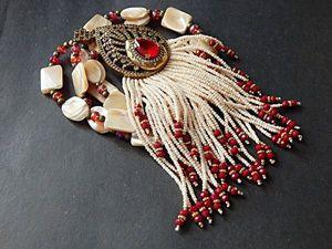 Перламутровый сотуар с роскошной подвеской. Ярмарка Мастеров - ручная работа, handmade.