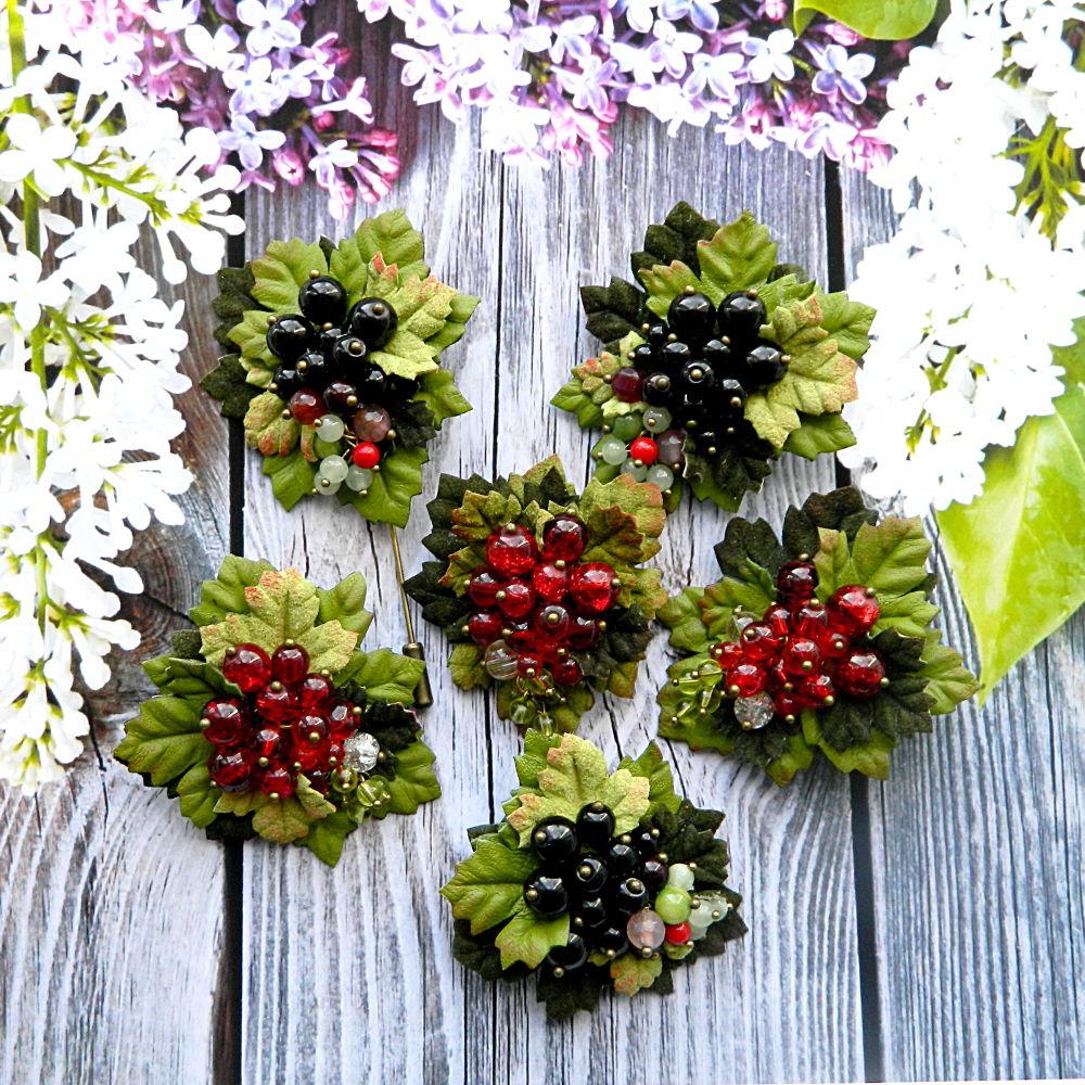 мини-брошь, украшения с ягодами