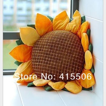 Free shipping excellent quality arcadian style lovely handmade fabric sunflower cushion car pillow seat covers & home decoration