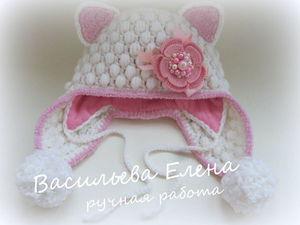 Вяжем крючком шапочку «Кошка». Часть 2: зимний вариант. Ярмарка Мастеров - ручная работа, handmade.