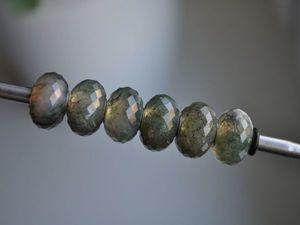 Натуральный полупрозрачный Моховой агат для Pandora и Trollbeads в наличии. Ярмарка Мастеров - ручная работа, handmade.
