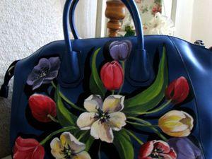 Преображаем наши вещи: расписываем сумку прекрасными тюльпанами. Ярмарка Мастеров - ручная работа, handmade.