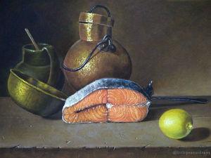 Этапы работы над Натюрмортом с Сёмгой (по мотивам картины Луиса Мелендеса) | Ярмарка Мастеров - ручная работа, handmade