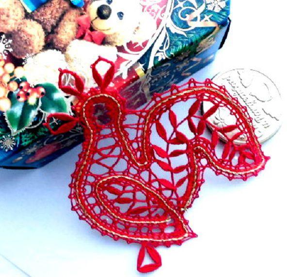 новогодние подарки, ангелочек, коклюшечное кружево