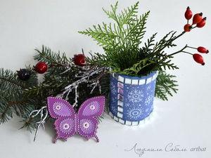 Новогодние цвета PEBEO. Роспись деревянной вазы | Ярмарка Мастеров - ручная работа, handmade