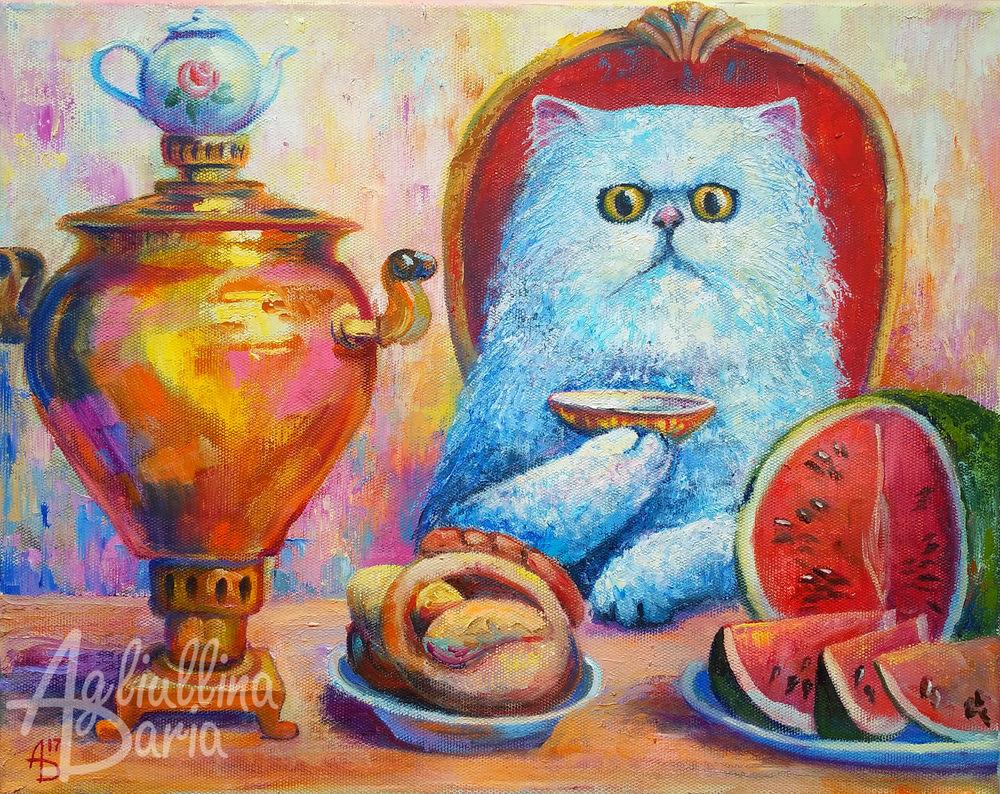 кот, кошка, картина с кошкой, картина на кухню, сказка, чай, чаепитие, самовар