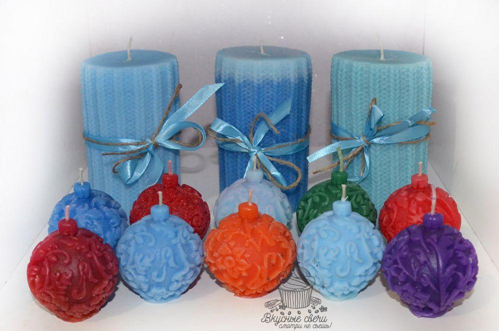елочные шары, аромасвечи, новогодние свечи, свечки, макаронс, макарон, macarons, вязаные свечи
