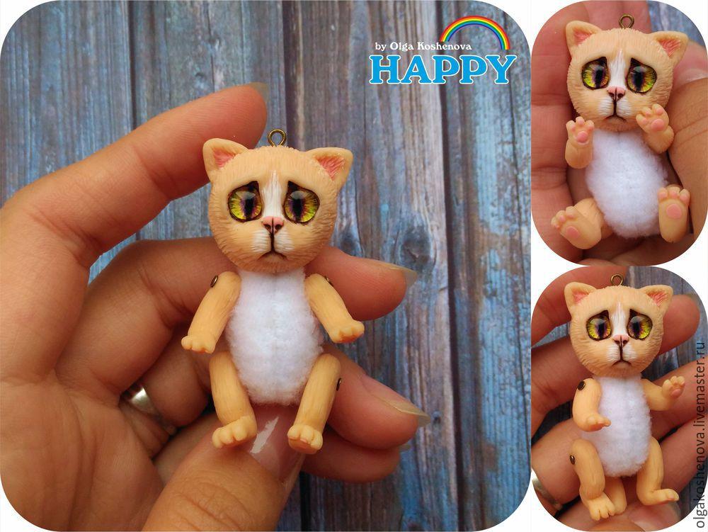 котёнок, игрушка, мини игрушка, полимерная глина, видеоурок, мк, мастер-класс, котик, кот, кулон, подвижный