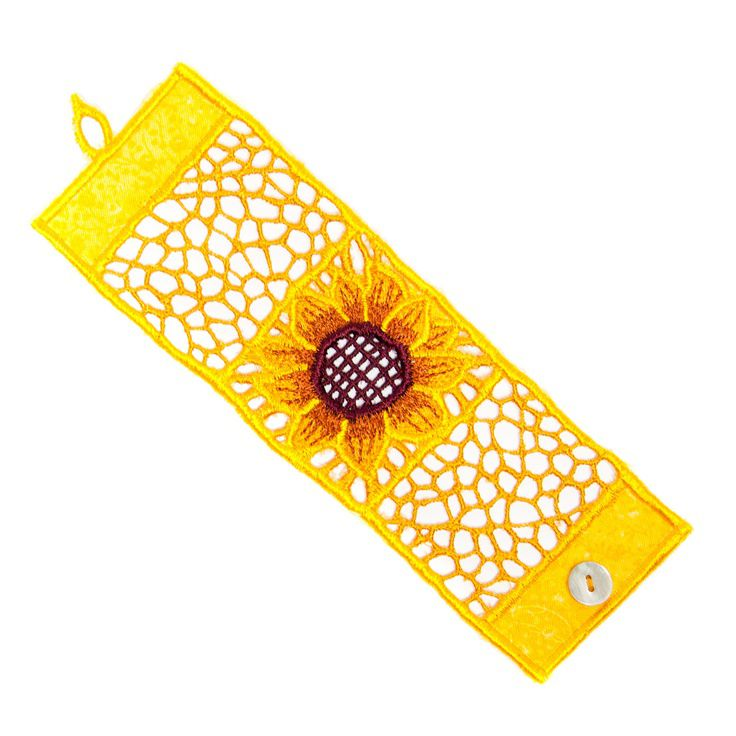 SUNFLOWER EMBROIDERED BRACELET   Flower Bracelet, Mexican Embroidery   UncommonGoods