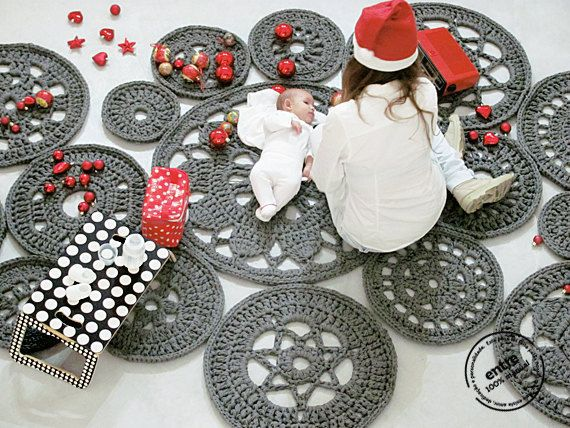 big scale handmade MODULAR crochet rug ENTRE by ENTREDESIGN