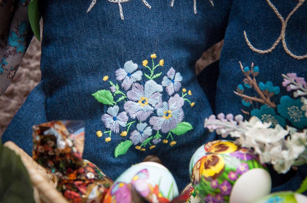 джинса, машинная вышивка, сувениры