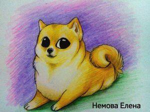 Мастер-класс: как нарисовать игривую собачку. Ярмарка Мастеров - ручная работа, handmade.