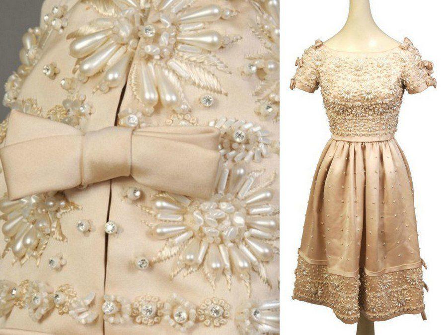 вышивка пайетками, вечернее платье