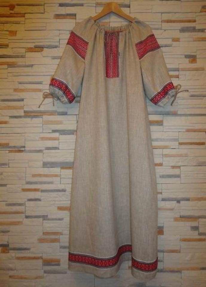 Славянское платье из льна сшить 57