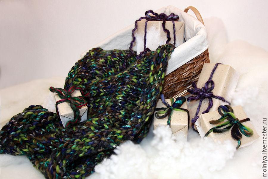 шарф из толстой пряжи, шарф вязаный, снуд купить, снуд вязаный